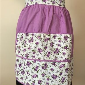 Vintage purple floral half apron.